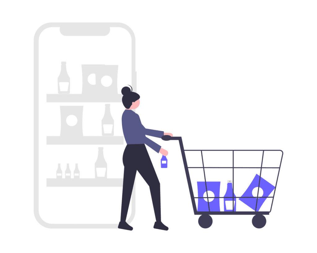 買い物をする女性の画像。