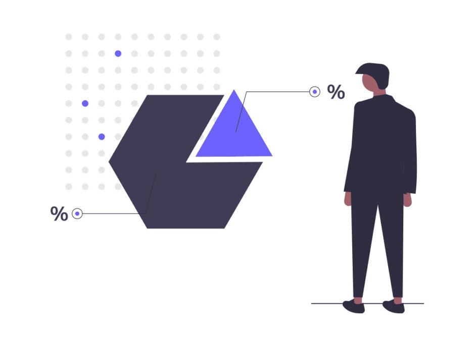 統計のチャートを見る男性の画像。