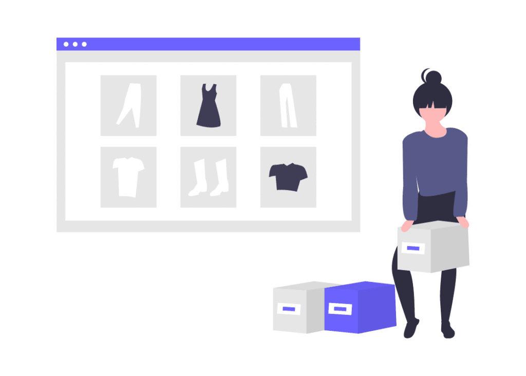 女性がウェブで買い物する画像。
