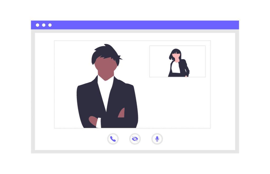 仕事のチャットをする男性と女性の画像。
