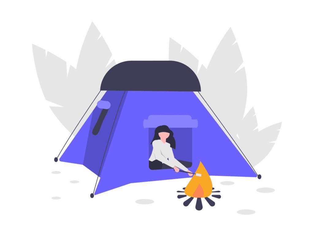 キャンプをする女性の画像。