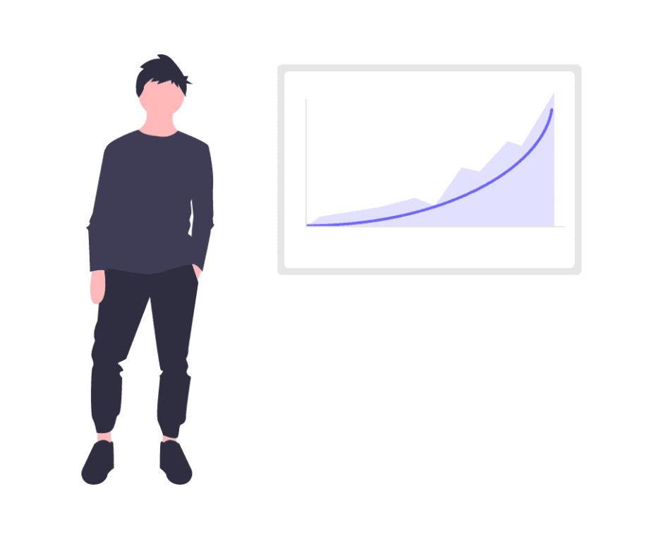 成長曲線を描く男性の画像。