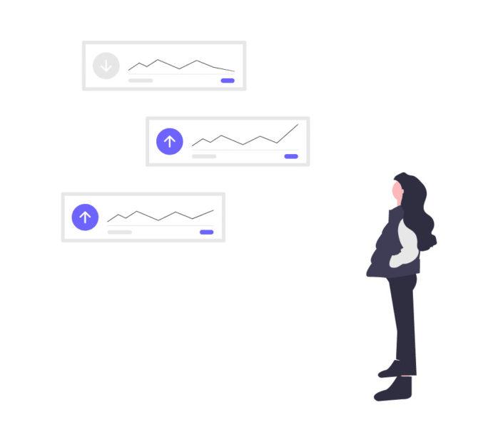 データの伸びを見る女性の画像。