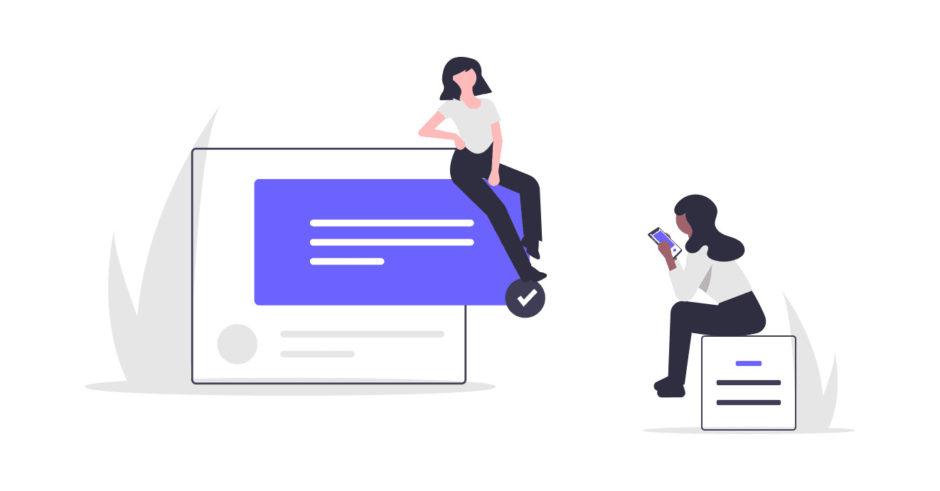 女性がインターネットで対話する画像。