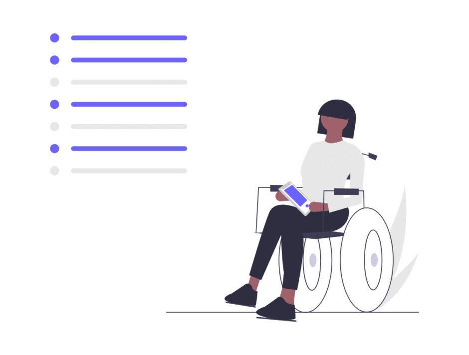 車椅子に乗った女性がタスクを見る画像。