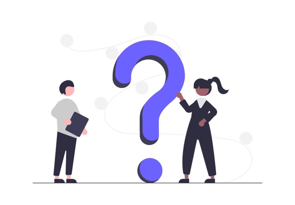 質問する女性と答える女性。