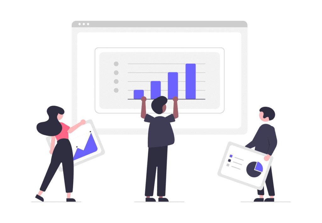 データをまとめる男性や女性の画像。