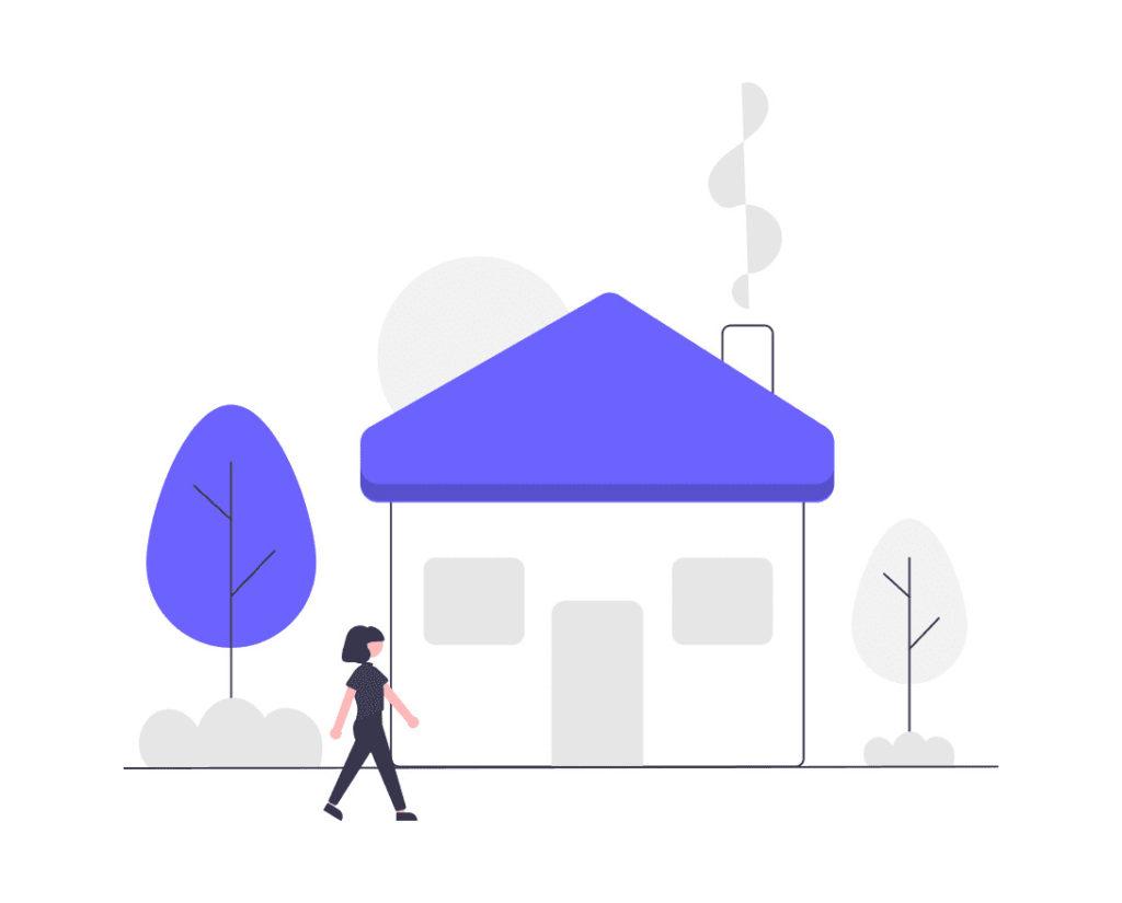 自宅に帰る女性の画像。