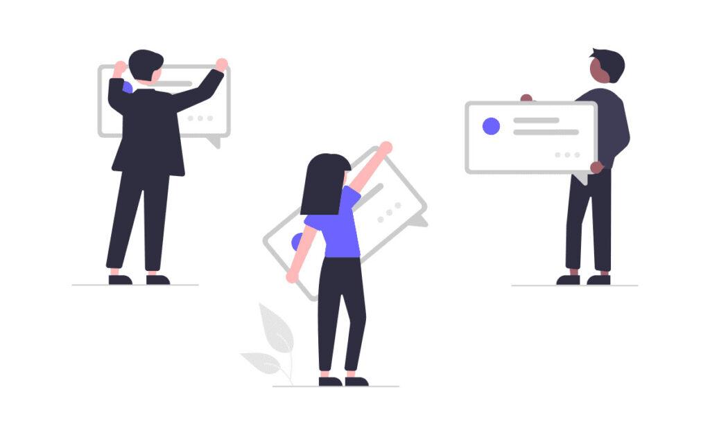 仕事のチャットを利用する男性と女性