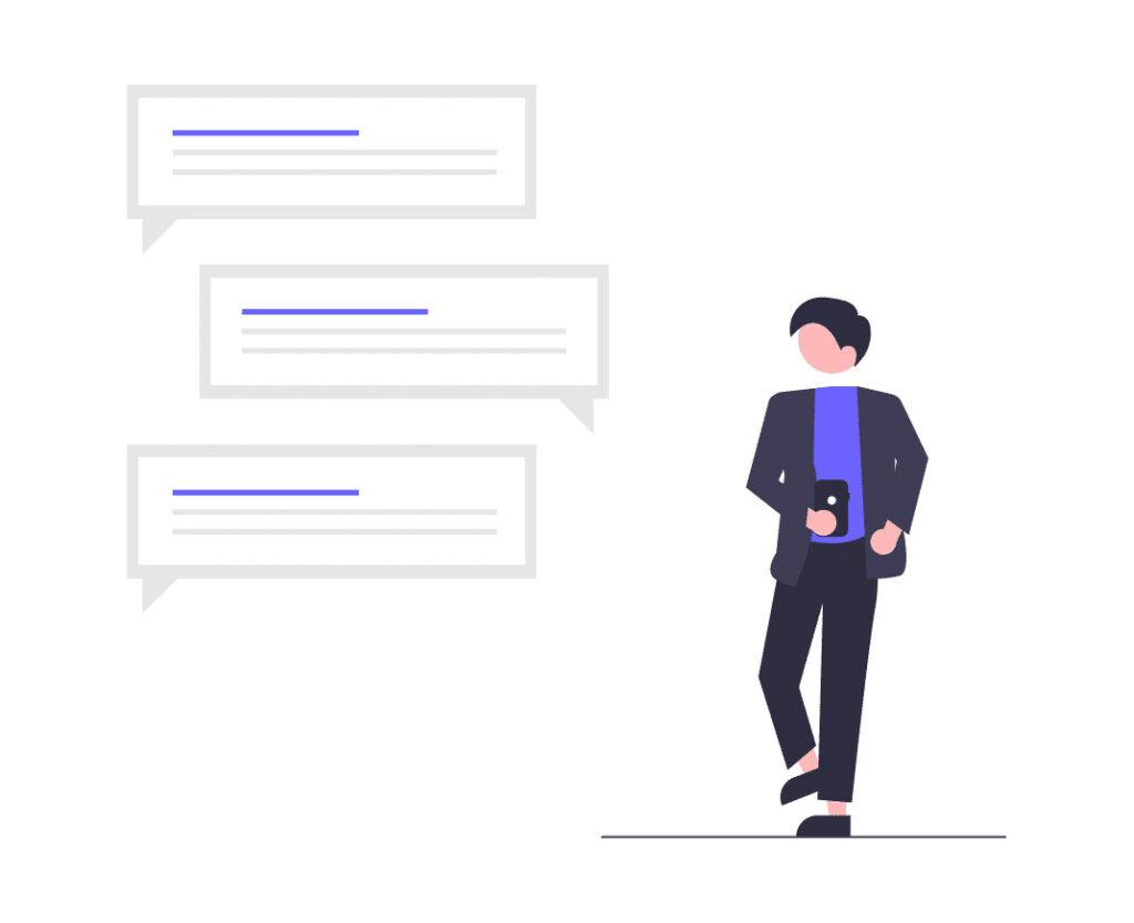 携帯のメッセージを確認する男性